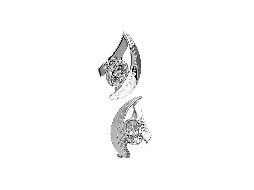 Náušnice z bílého zlata se zirkonovým kamenem v elegantním tvaru