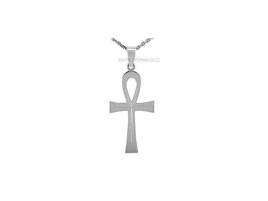 Přívěšek nilský kříž z bílého zlata 43mm