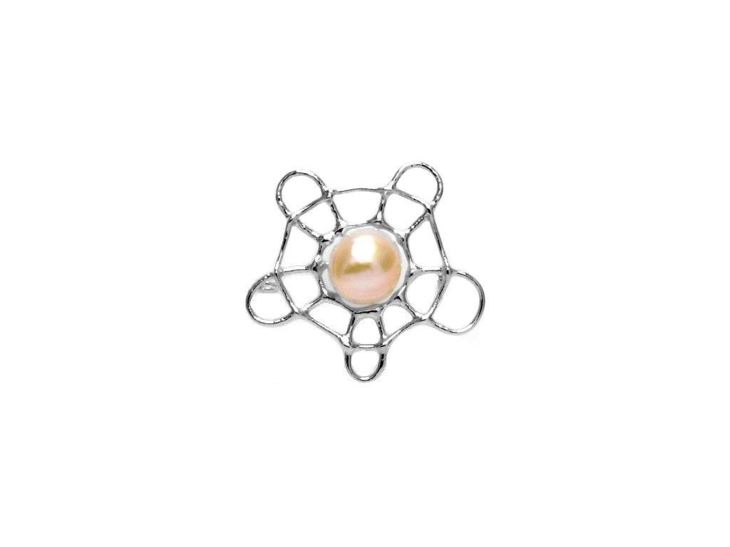 Perlová brož - pavučinka