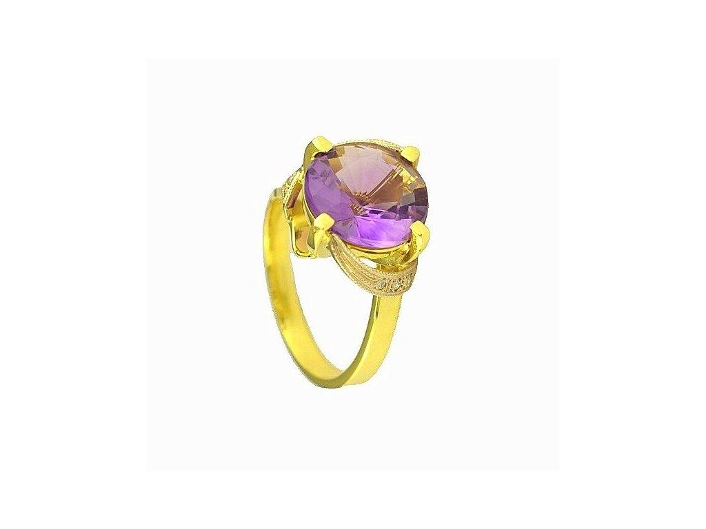Elegantní zlatý prsten s ametystem a brilianty
