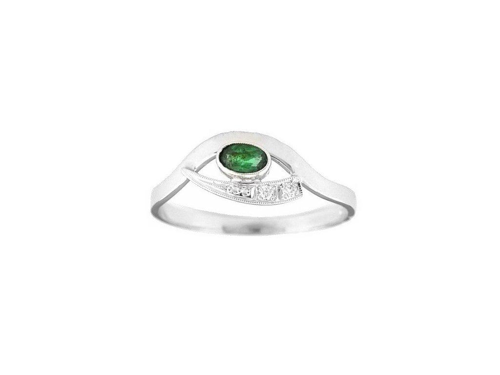Smaragdový prsten bílé zlato s páskem briliantů