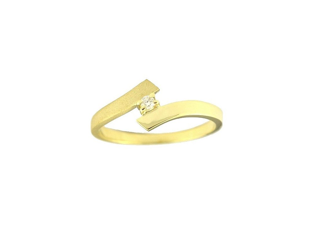 Jednoduše nádherný zlatý prsten s briliantem