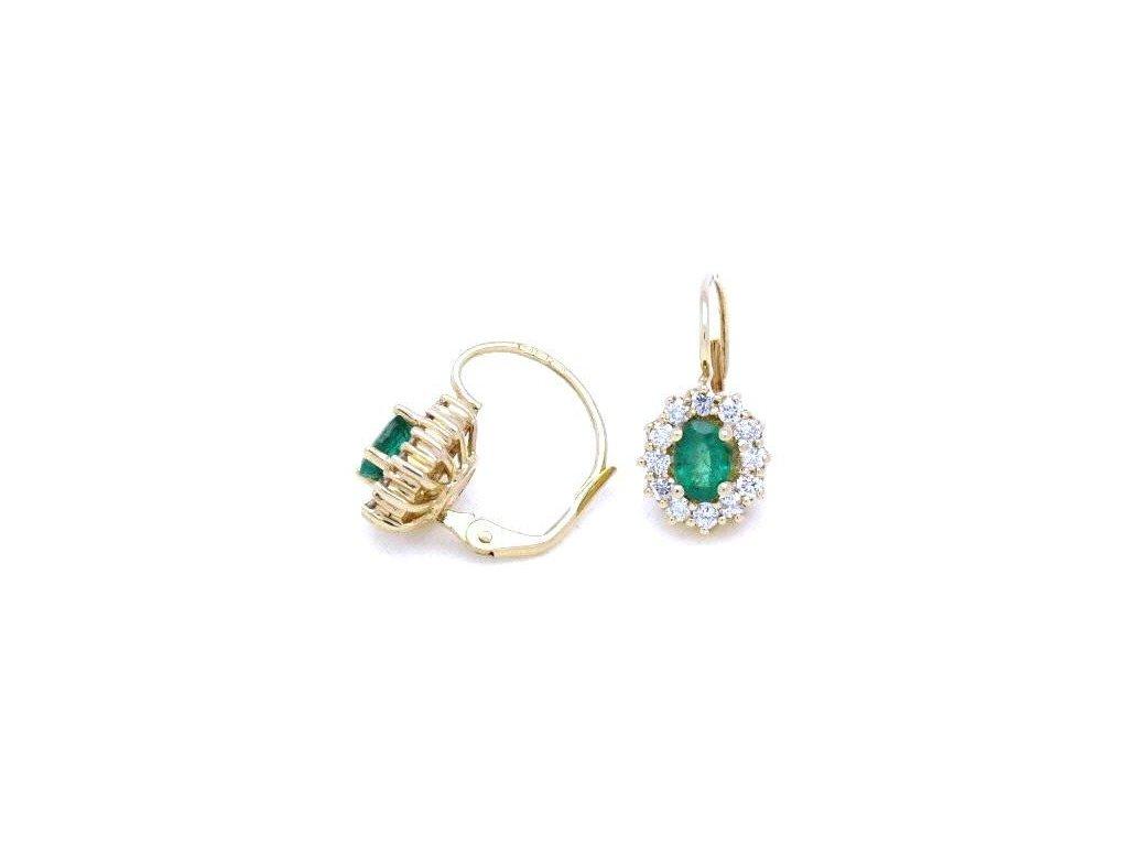 Smaragdové náušnice zdobené brilianty