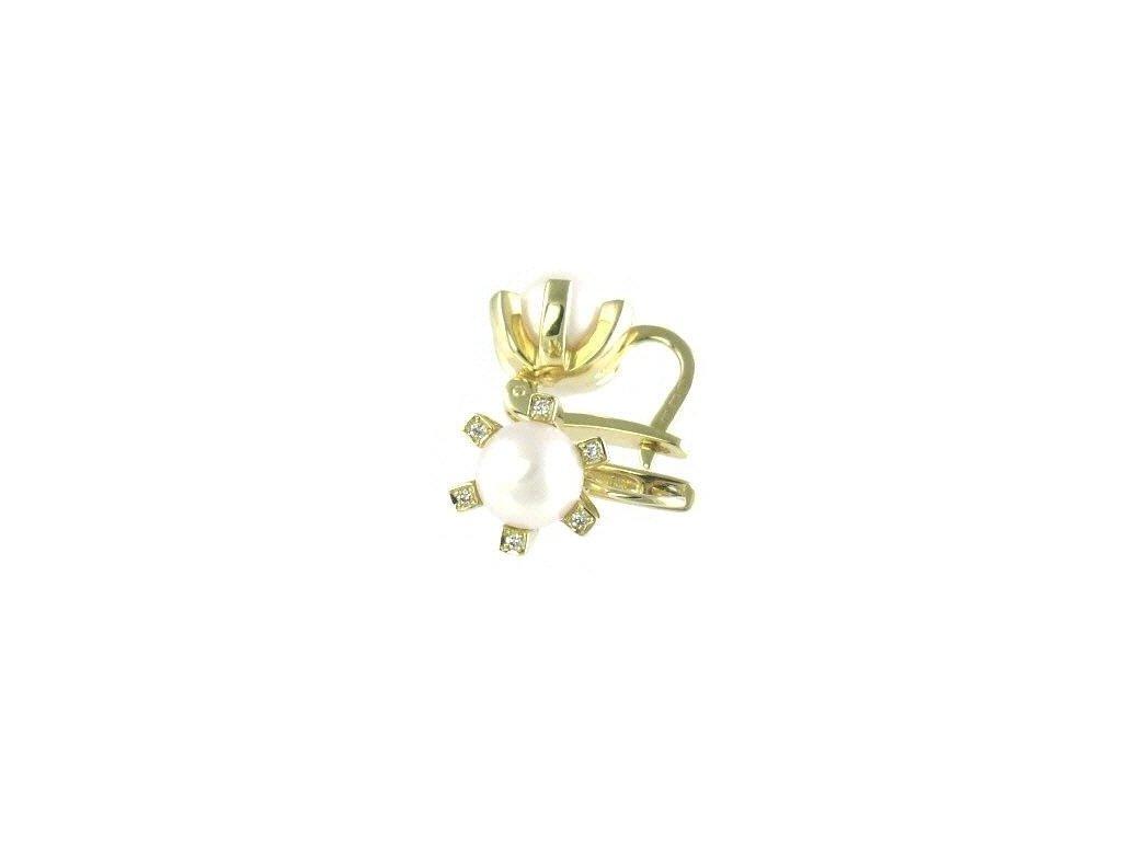 Elegantní perlové náušnice ze žlutého zlata + brilianty
