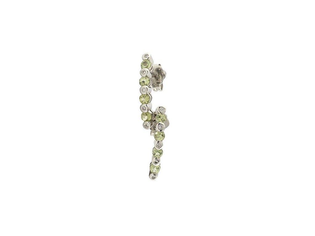 Visací náušnice s olivíny a brilianty