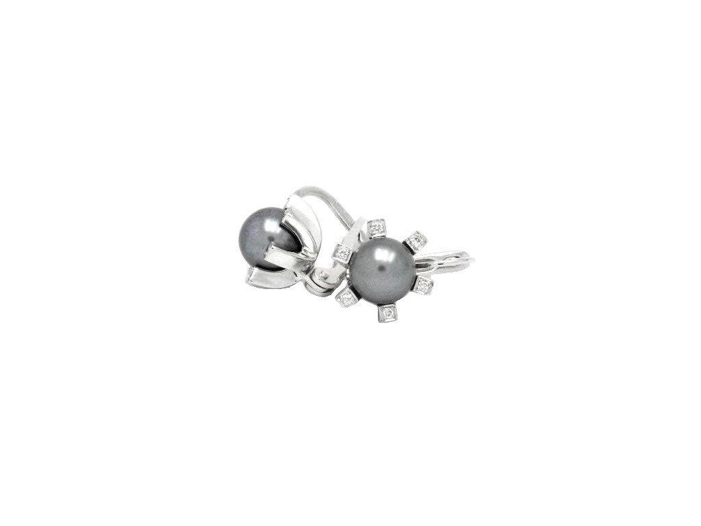 Šedé perlové náušnice z bílého zlata s brilianty