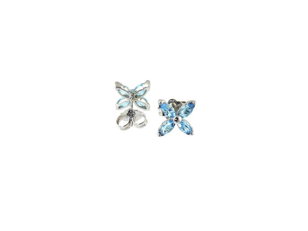 Topazové náušnice s topazy ve tvaru motýlka