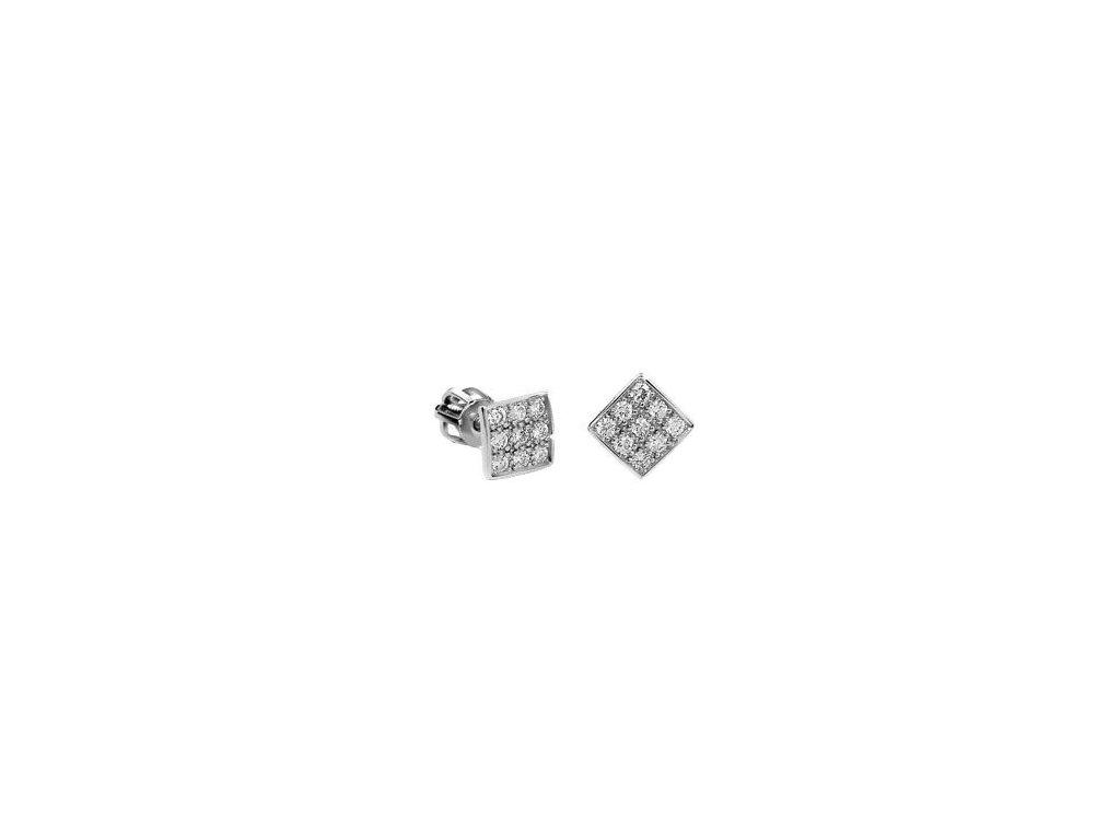 Čtverečkové náušnice s brilianty Z 2096