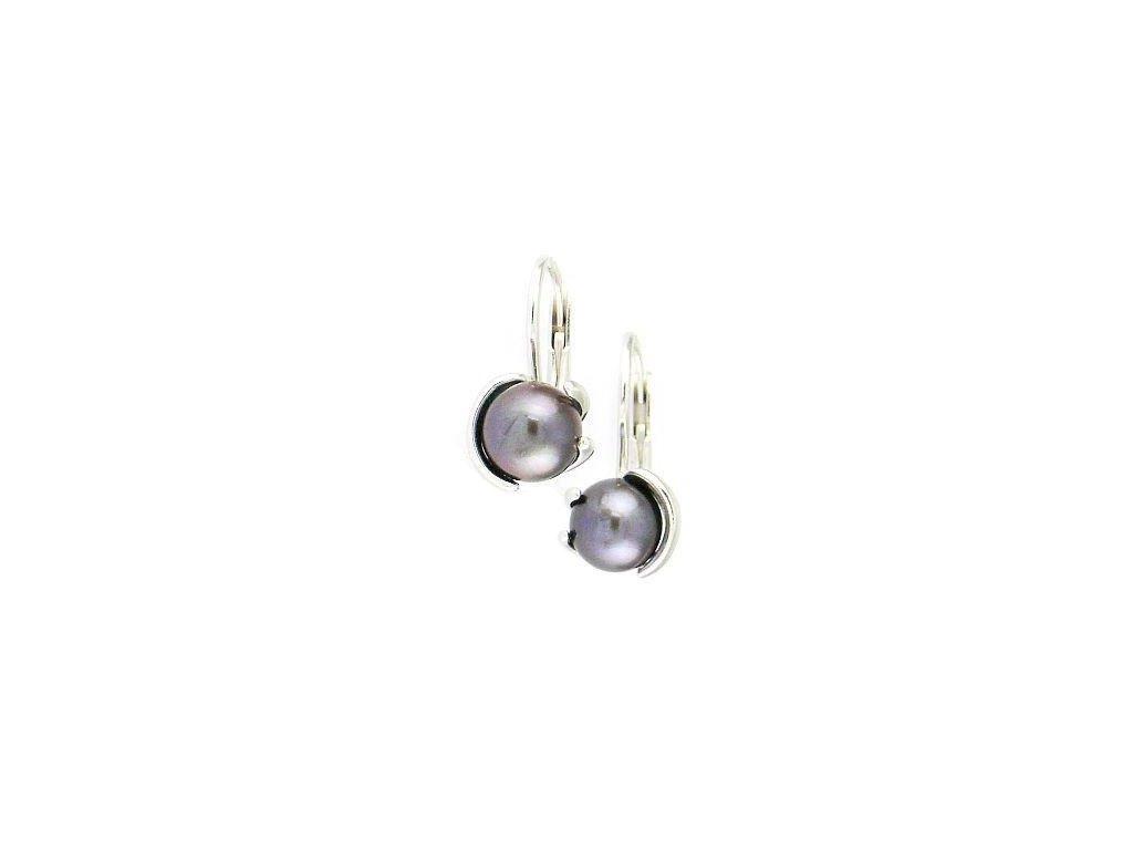 Bílé zlato perlové náušnice šedě modré barvy 7mm