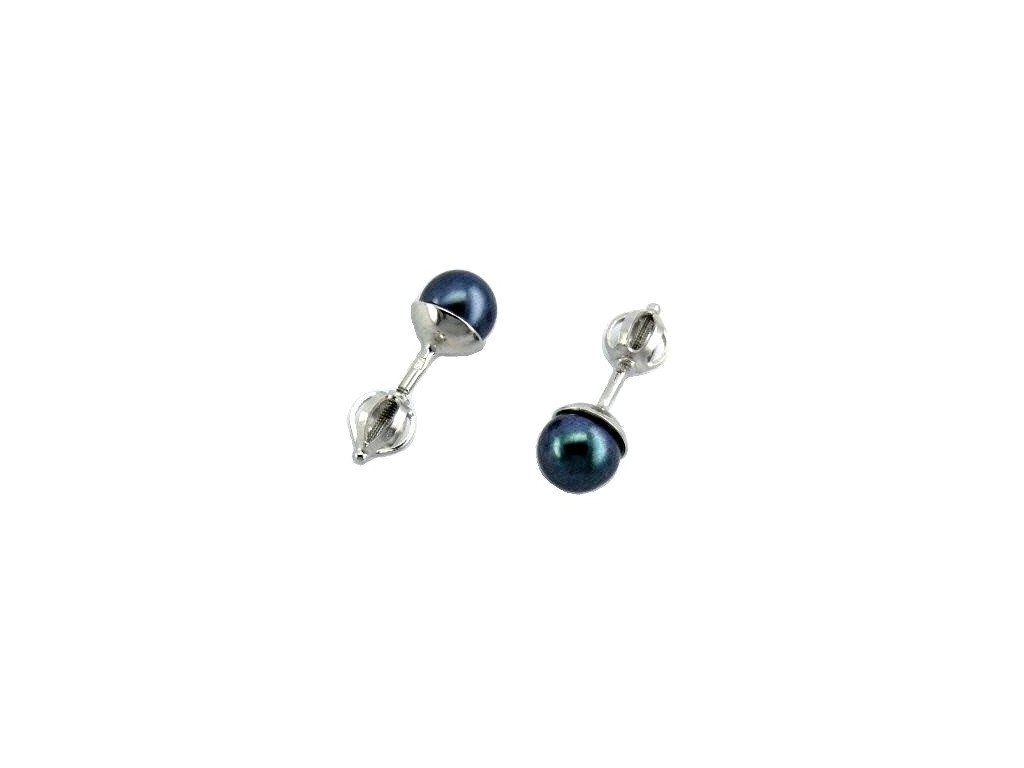 Náušnice z bílého zlata s tmavě modrou perlou 6mm