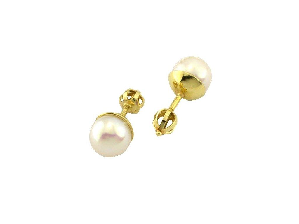 Perlové náušnice ze žlutého zlata 10mm