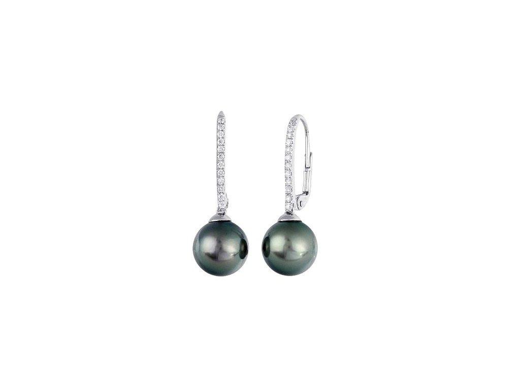 Náušnice z bílého zlata s tahitskými perlami posázené brilianty