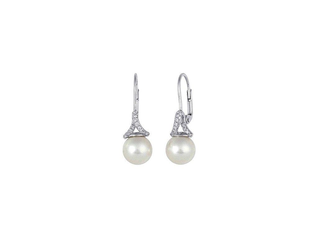 Náušnice z bílého zlata s přírodními bílými perlami poseté brilianty