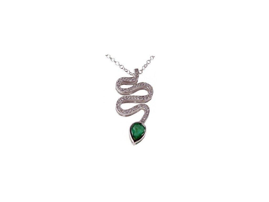 Smaragdový přívěsek ve tvaru hada