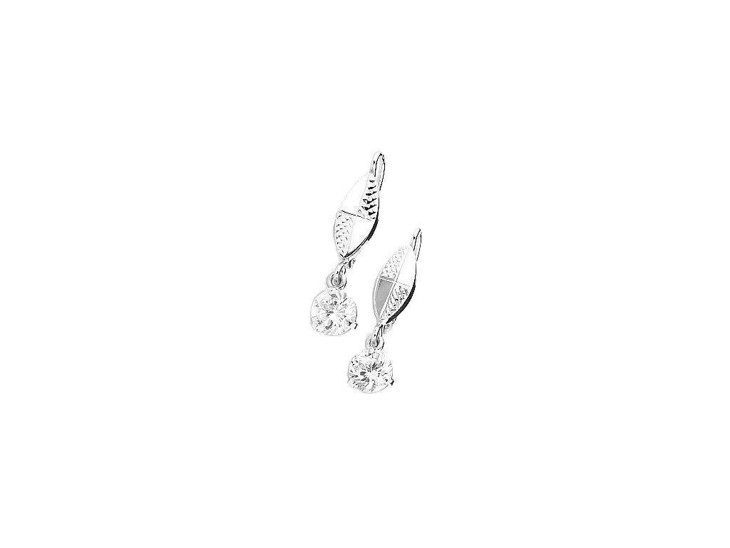Elegantní náušnice z bílého zlata se vsazenými kameny zirkonu