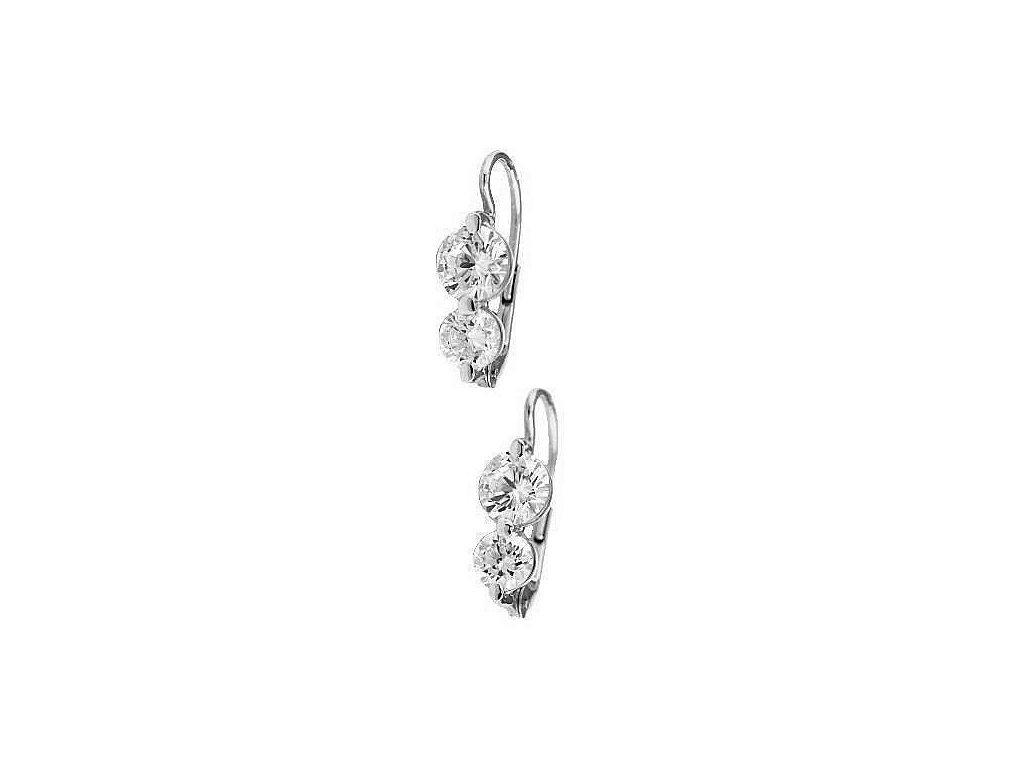 Náušnice z bílého zlata se dvěma kameny zirkonu
