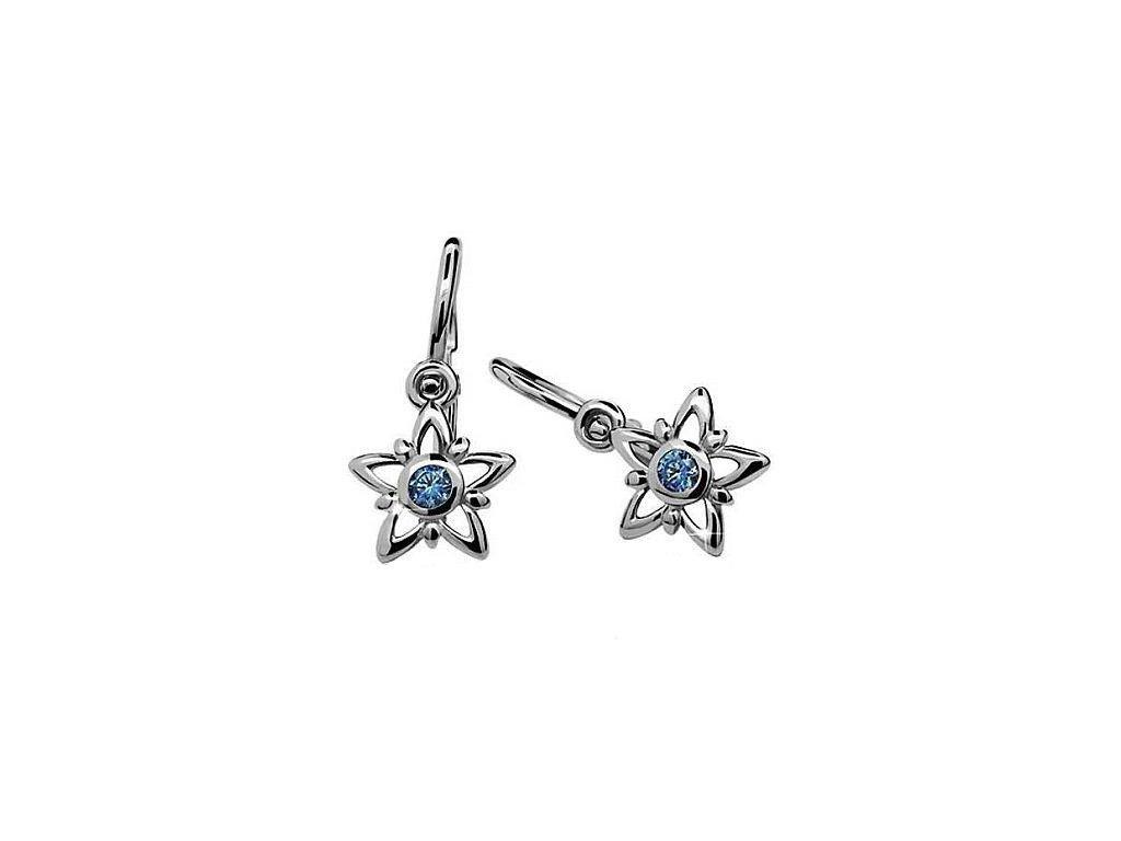 Dětské náušnice ve tvaru hvězdy z bílého zlata s modrým zirkonem ve středu C1996