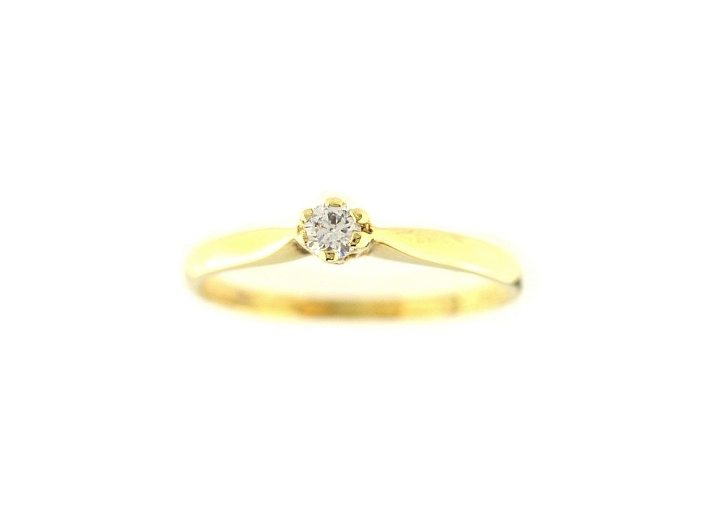 Zlatý prsten se zirkonem žluté zlato