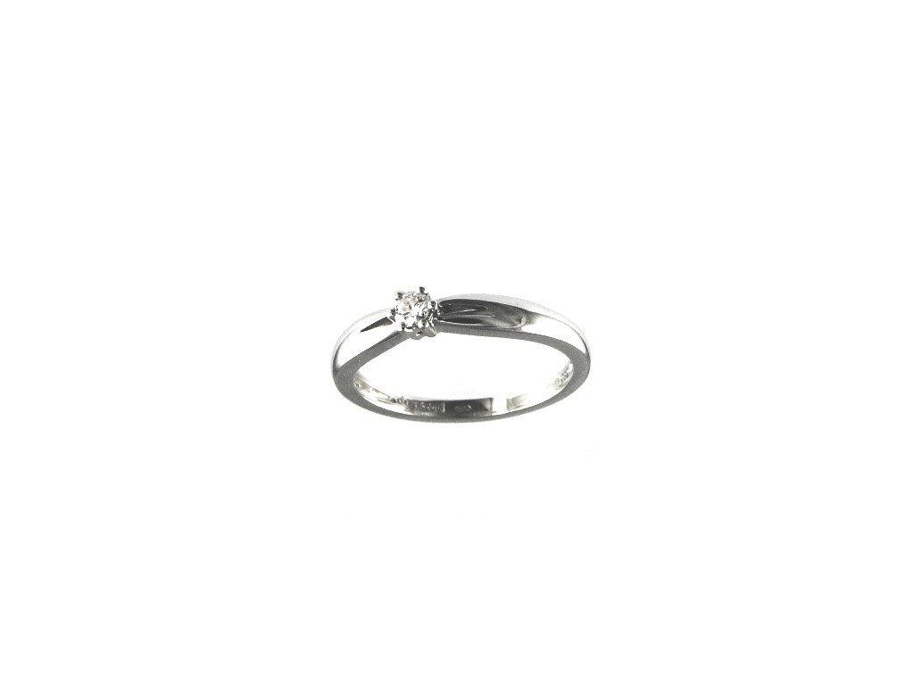Jednoduchý briliantový prsten z bílého zlata