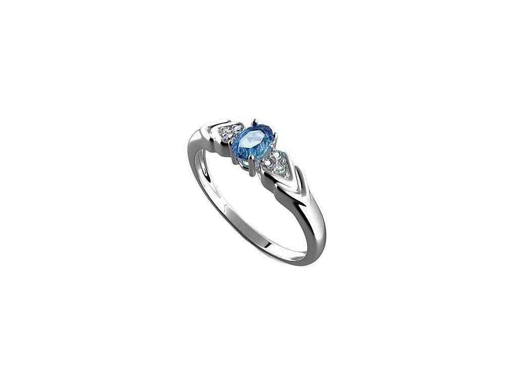 Topazový prsten z  14 karátového bílého zlata