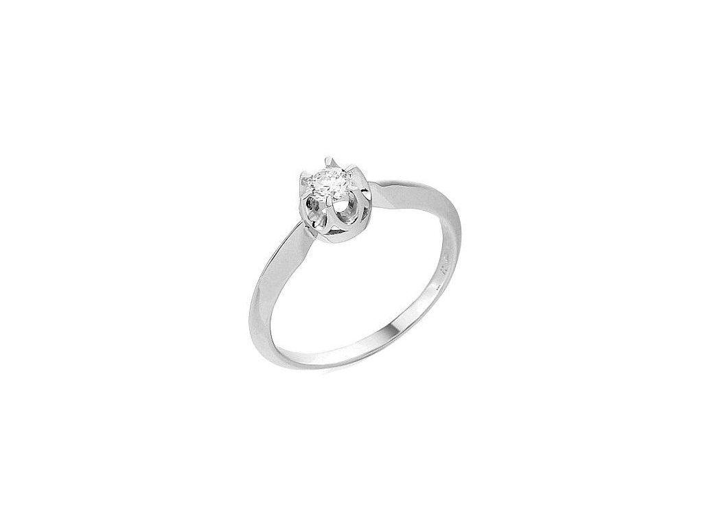Luxusní prsten bílé zlato s briliantem