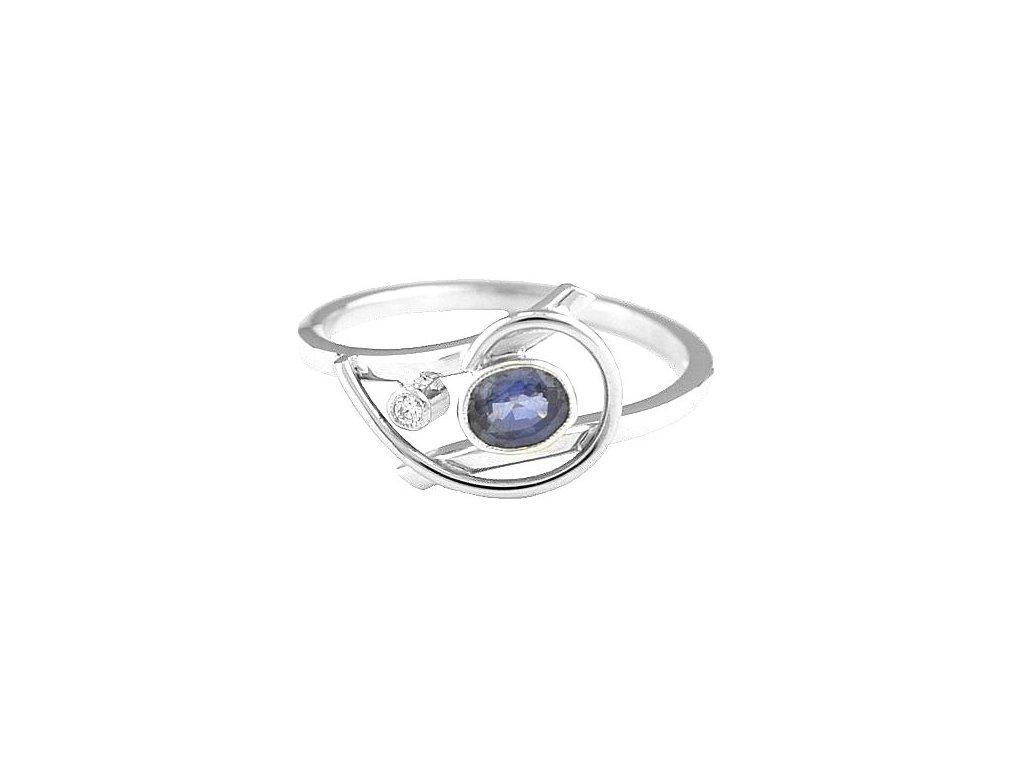 Safírový prsten bílé zlato s briliantem