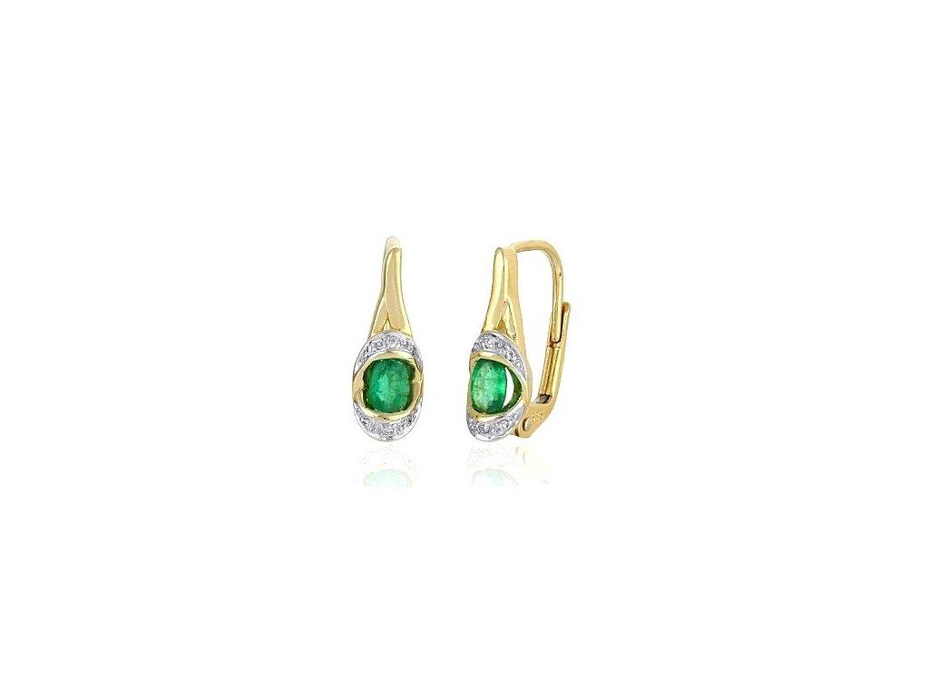 Elegantní smaragdové náušnice ze žlutého zlata s brilianty