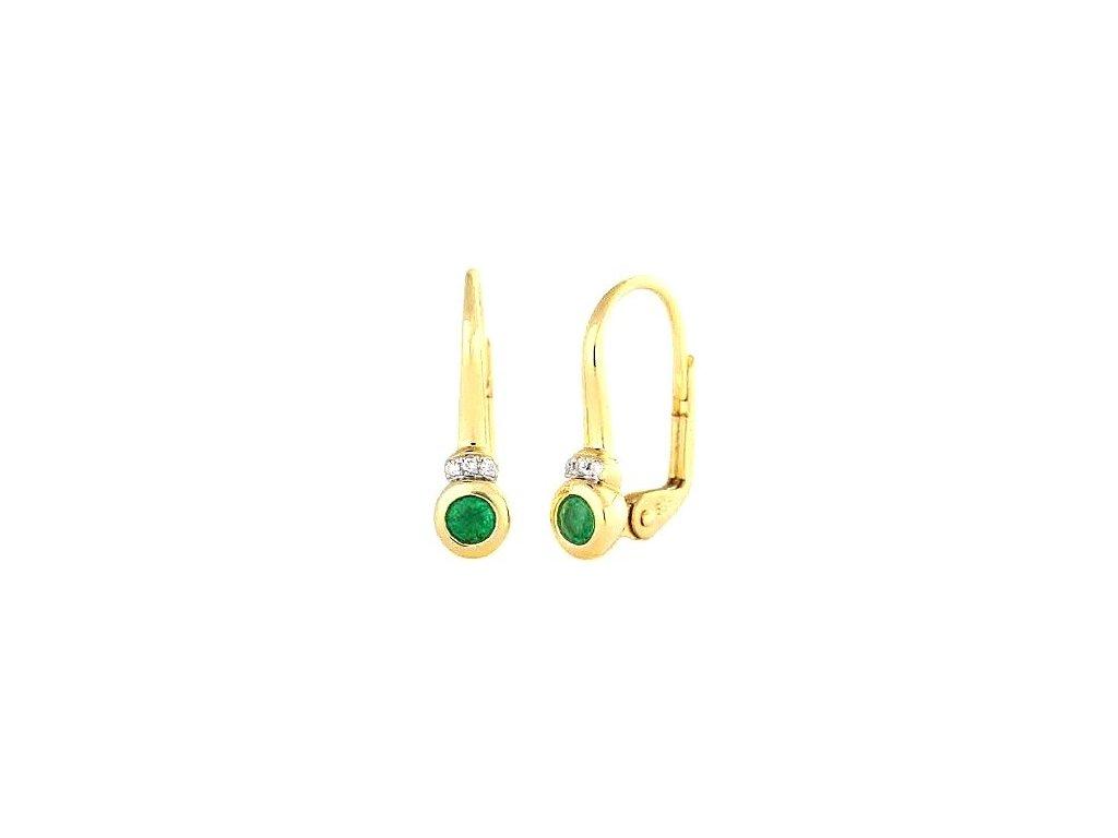 Zlaté náušnice se smaragdy zasazenými v lunetě zdobené brilianty