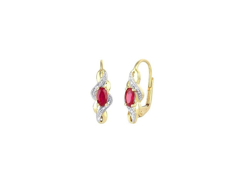 Elegantní rubínové náušnice s brilianty