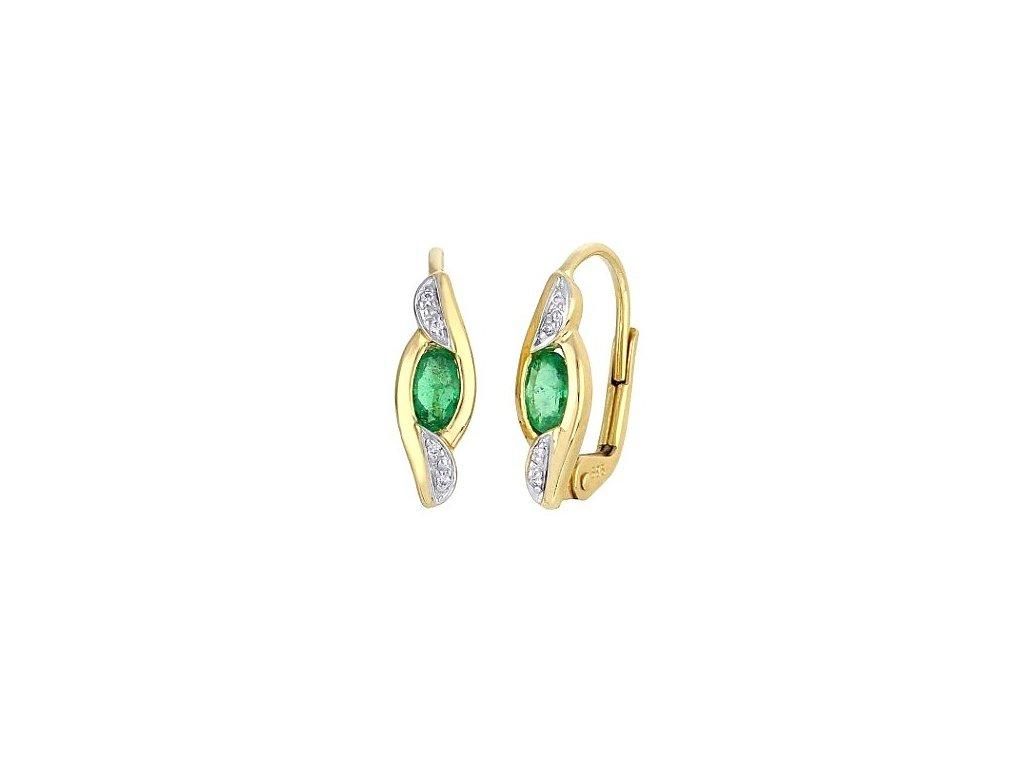 Smaragdové náušnice ze zlata zdobené brilianty