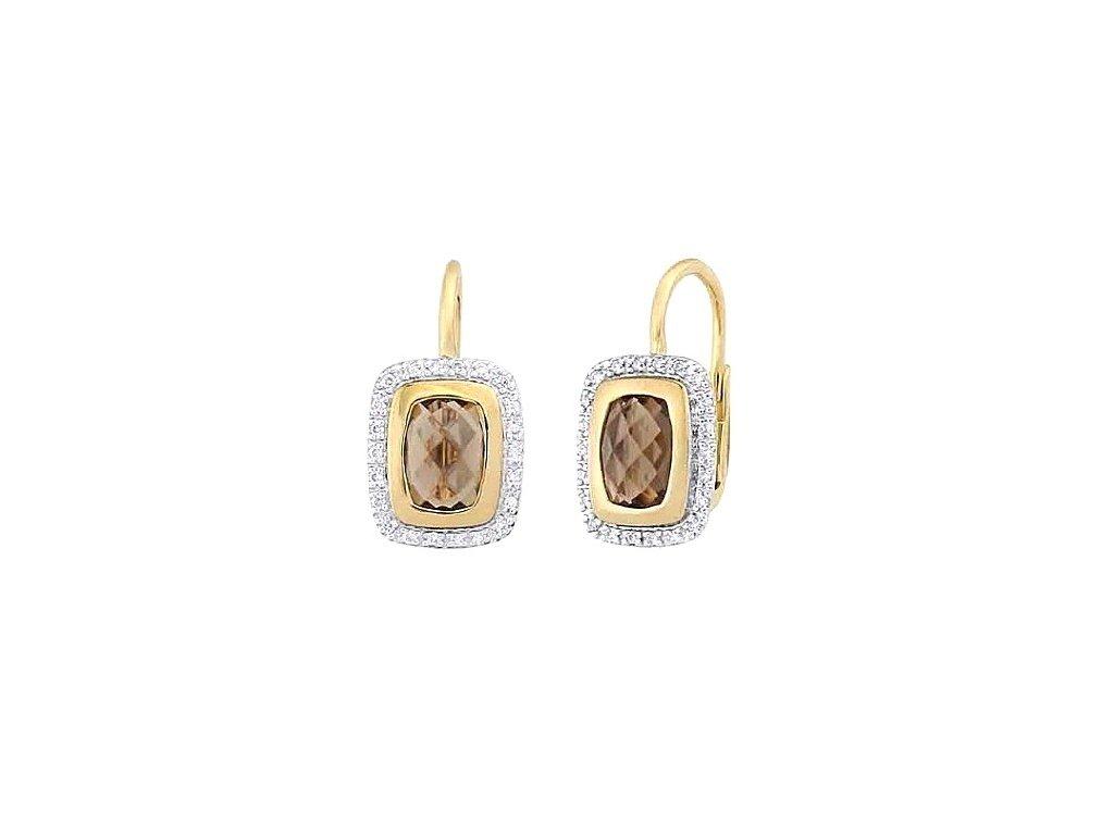 Záhnědové náušnice s vrstvou žlutého zlata a briliantů