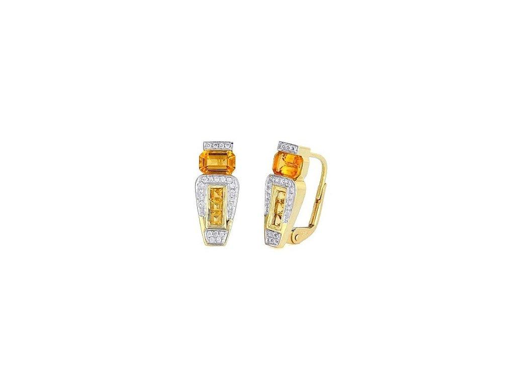 Padnoucí náušnice s citrínovými kameny zdobené brilianty