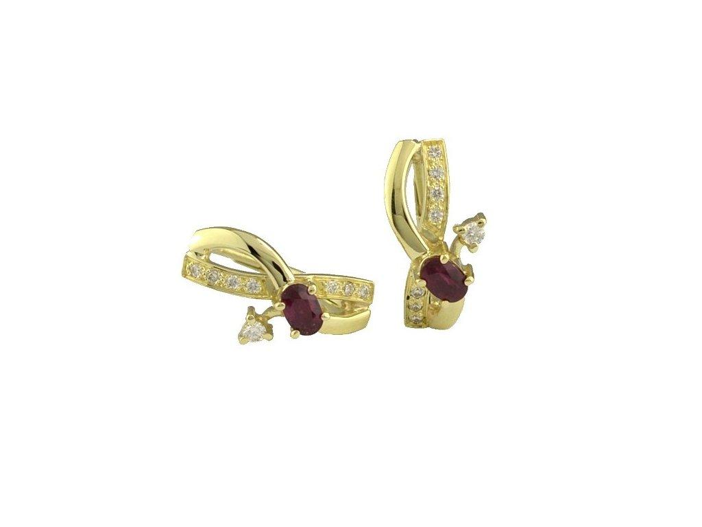 Luxusní zlaté náušnice s rubíny a brilianty