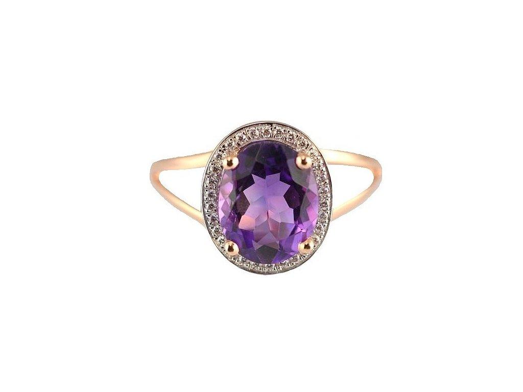 Ametystový prsten z růžového zlata zdobený brilianty