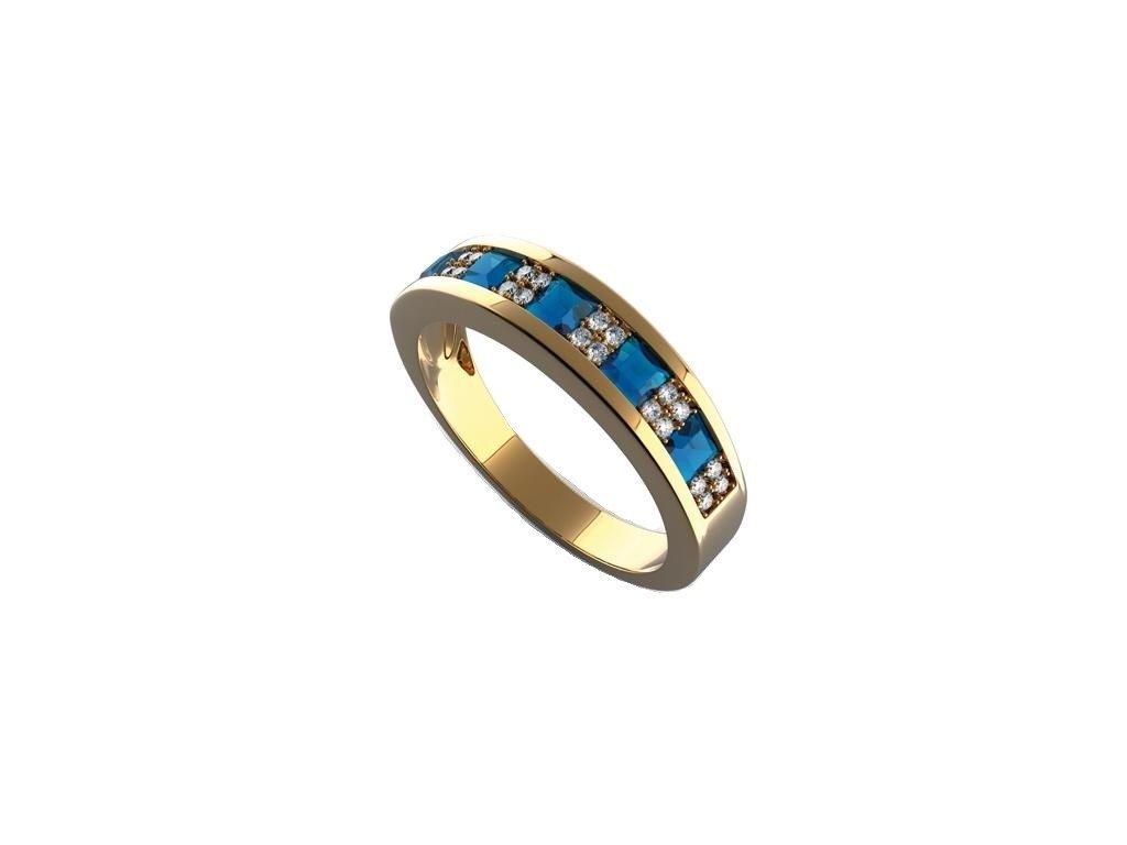 Safírový prsten s 24 ks brilianty