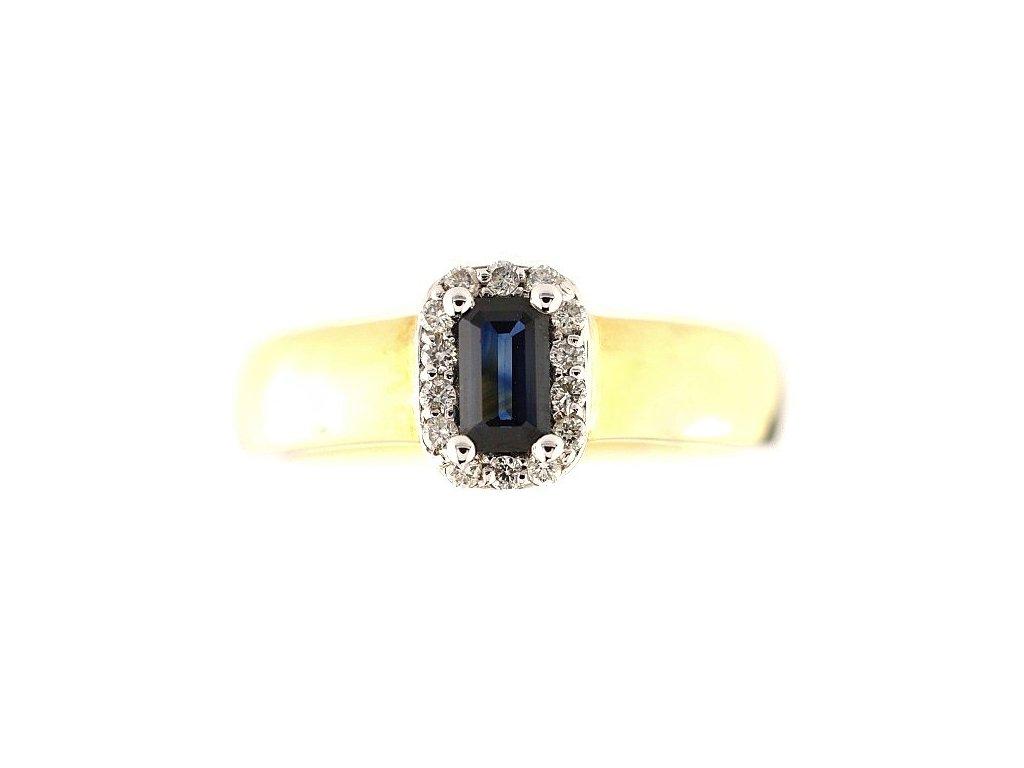 Kvalitní safírový prsten ze žlutého zlata