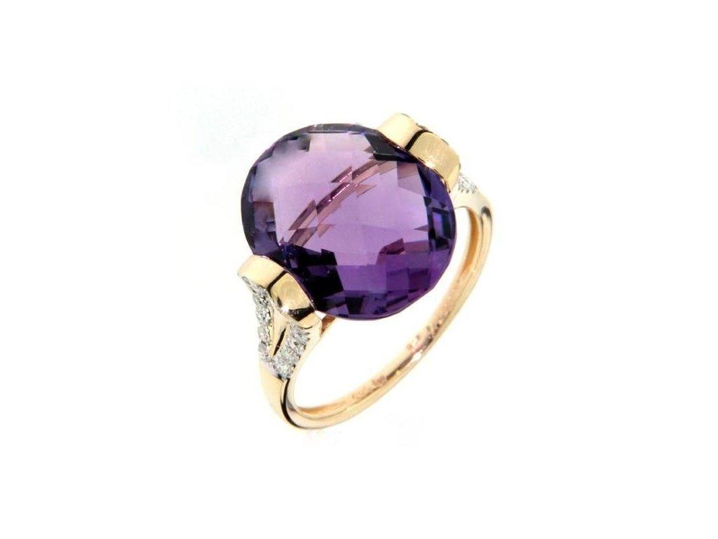 Zlatý prsten s fialovým ametystem s brilianty