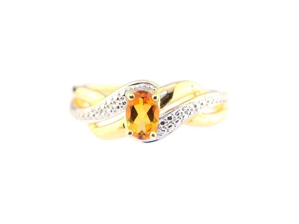 Energický citrínový prsten ze zlata žluté barvy
