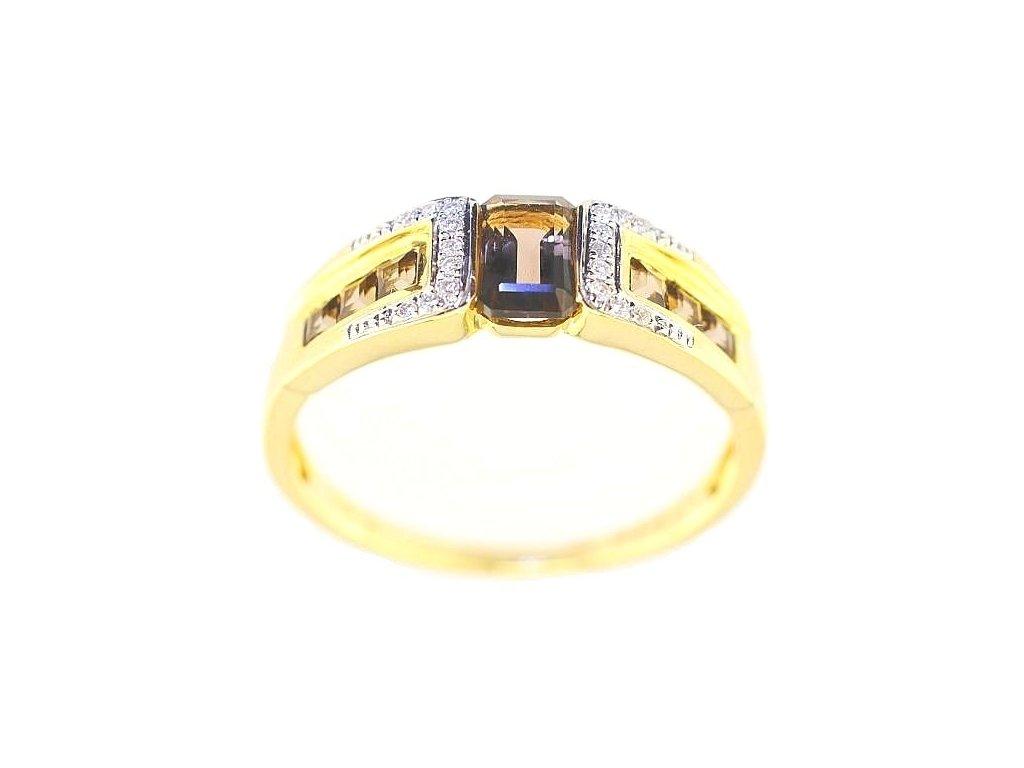 Záhnědový prsten ze zlata v briliantovém osazení