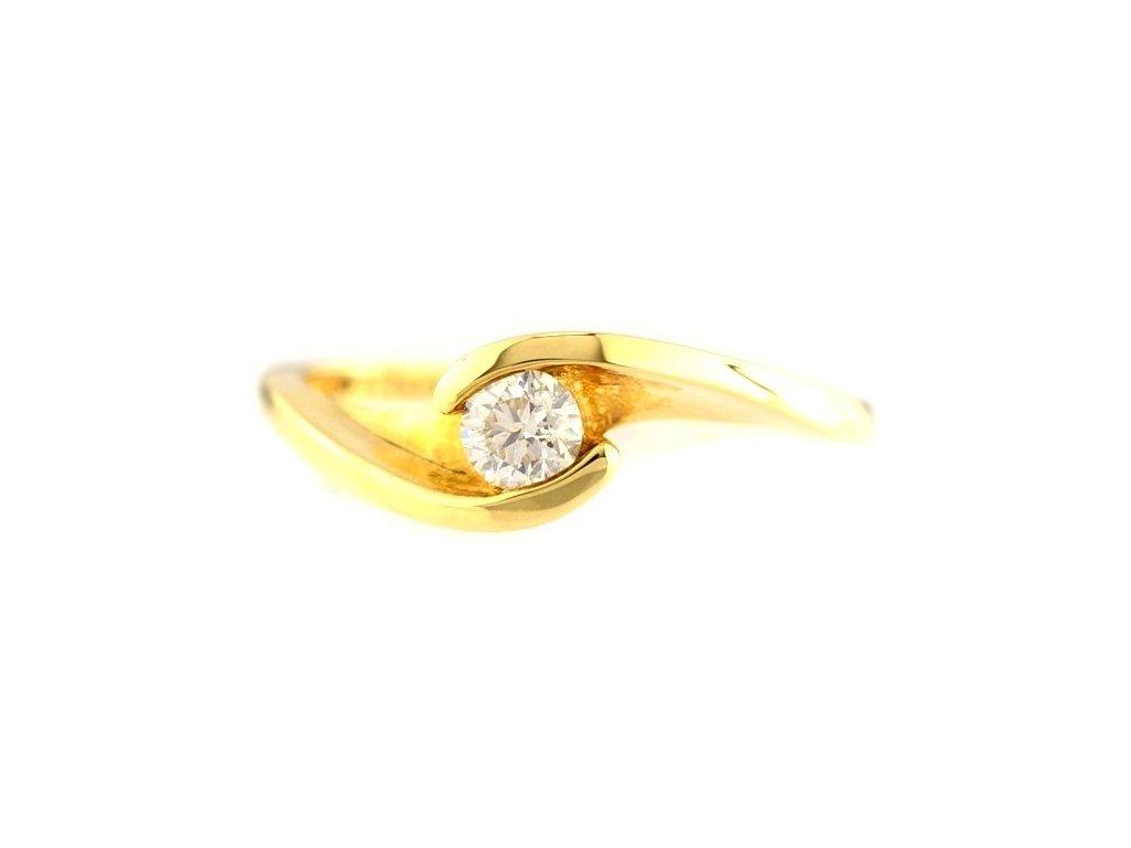 Elegantní prsten žluté zlato s briliantem v objetí