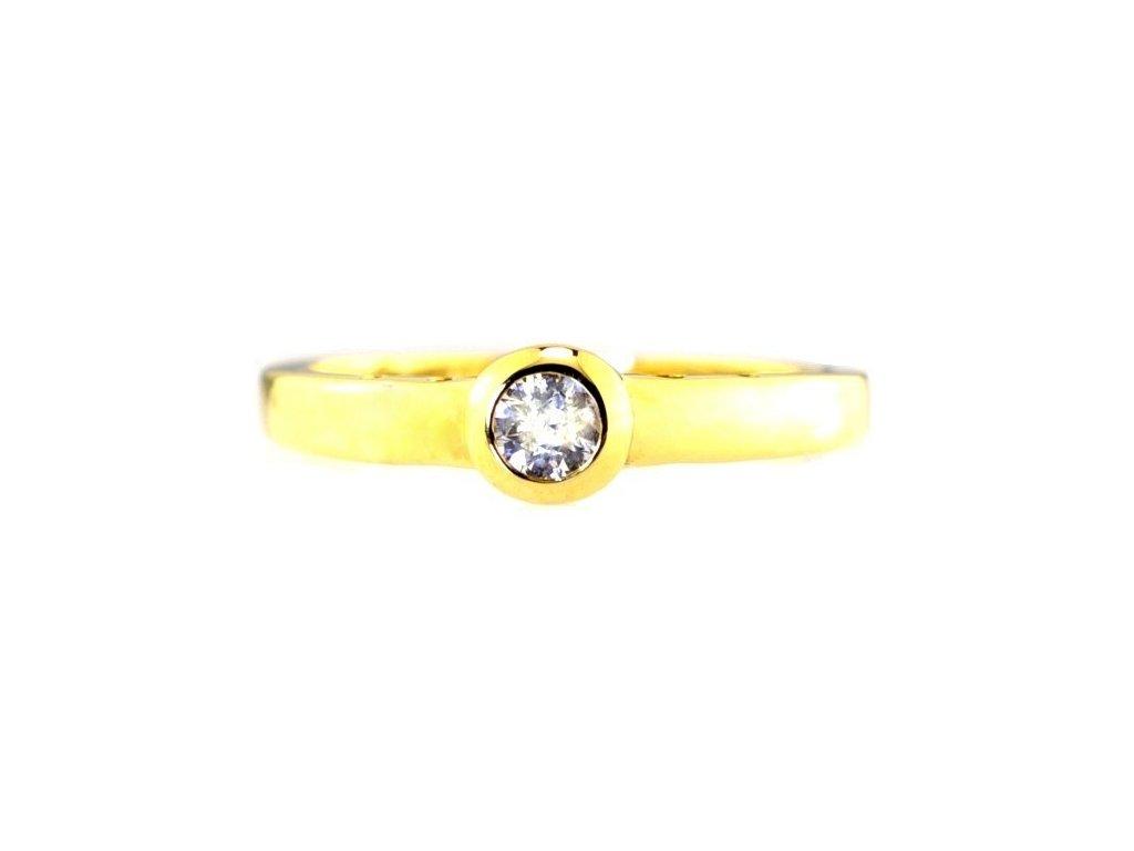 Prsten se zlatou obroučkou a kamenem briliantu