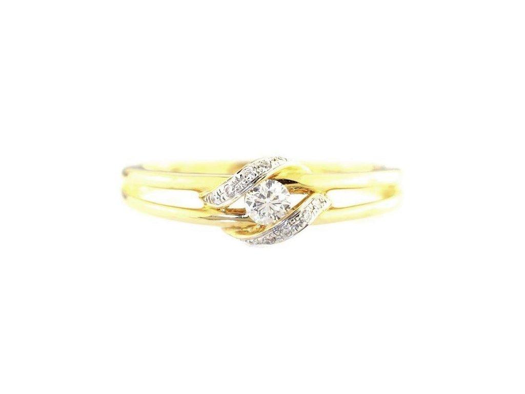Luxusní zlatý prsten ozdobený kameny přírodního briliantu