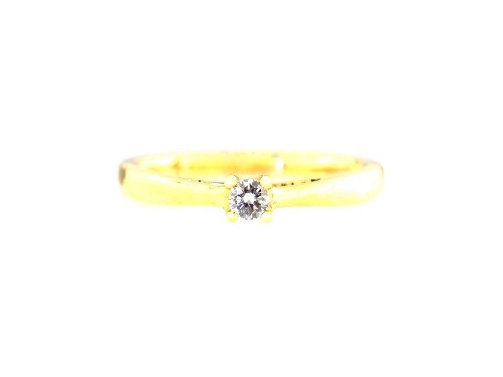 Prsten ze zlaté obroučky s briliantovou hlavou
