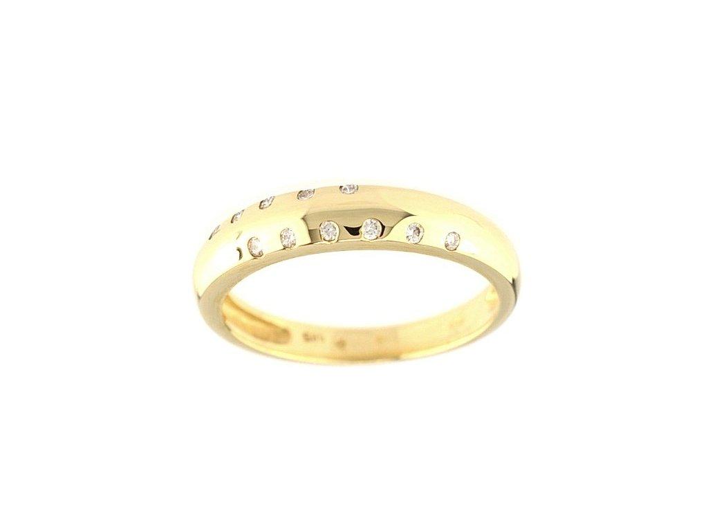 Briliantový prsten z 14 karátového žlutého zlata