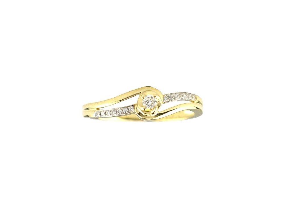 Večerní zlatý prsten vyzdobený přírodními brilianty