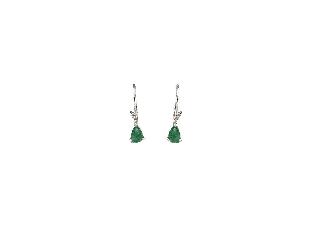 Smaragdové náušnice z bílého zlata s briliantovým okvětím