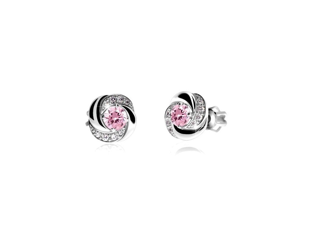 Náušnice s růžovými safíry Z  bílého Z lata doplněné brilianty Z 3265