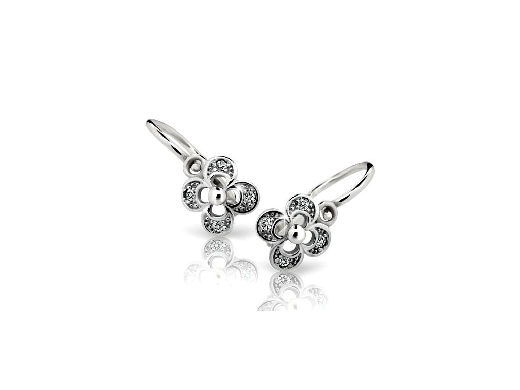 Čtyřlístkové náušnice dětské ND2200 Diamonds – bílé zlato s brilianty