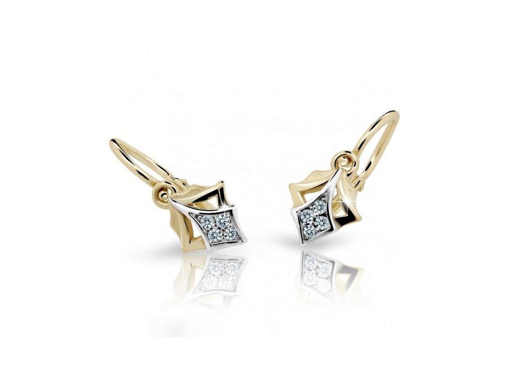 Kosočtverečky na dětských náušnicích ND2220Z Diamonds ze žlutého zlata s brilianty
