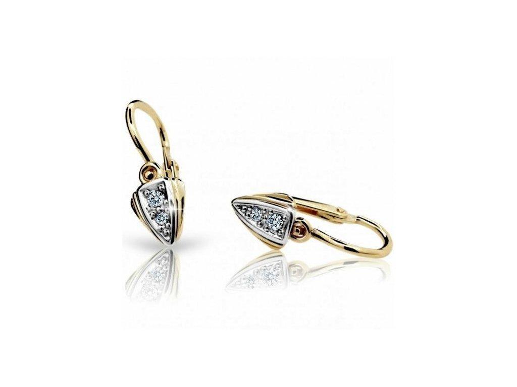 Trojúhelníčkové náušnice dětské ND1899Z Diamonds žluté zlato + brilianty
